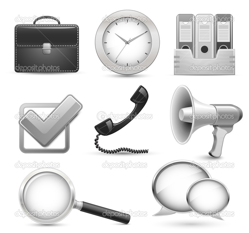 Highly detailed office icons for business web site — ベクター素材ストック #5141954