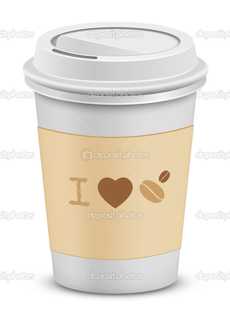 I love coffee. Plastic coffee cups with lid. Vector illustration. — Stock Vector #5142751