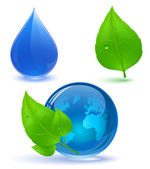 Globe and green leaves with drop of water — Stock Vector