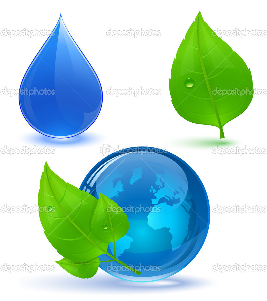 Globe and green leaves with drop of water. Blue water. Eco Concept. — Stock Vector #5171674