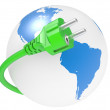 Green electric plug and earth — Stock Photo