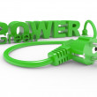 Green electric plug and inscription POWER — Stock Photo