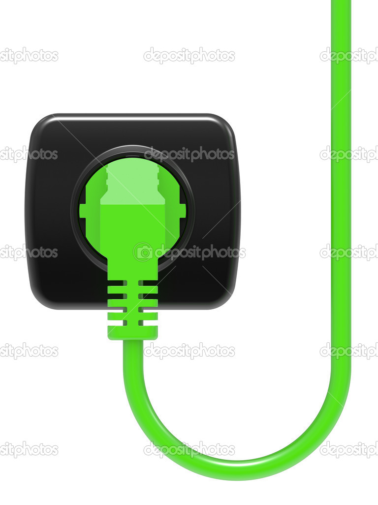 Green electric plug and power outlet isolated on white background — Stock Photo #4061563
