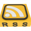 Icon RSS on a support. 3D an illustration isolated on a white ba — Stock Photo