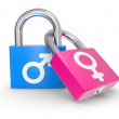 Male And Female Symbols on a lock on a white background — Stock Photo #4276742