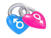 Male And Female Symbols on a heart lock — Stock Photo