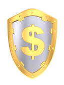 Gold shield with dollar sign — Stock Photo