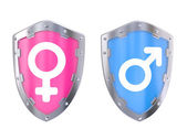 Male And Female Symbols on a shield — Stock Photo