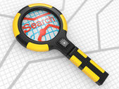 Magnifier on a map — Stock Photo