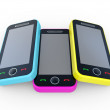 Royalty-Free Stock Photo: Multi-coloured 3D mobile phones