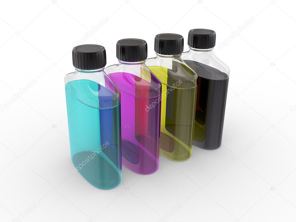 Banks with  paints of CMYK colors on a white background — Stock Photo #4678366