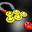 Smiling faces near to a magnet — Stock Photo #4747779