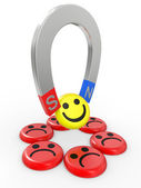 Smiling faces near to a magnet — Stock Photo