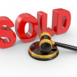 Gold judge gavel and inscription sold — Stock Photo