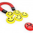 Stock Photo: Smiling faces near to a magnet