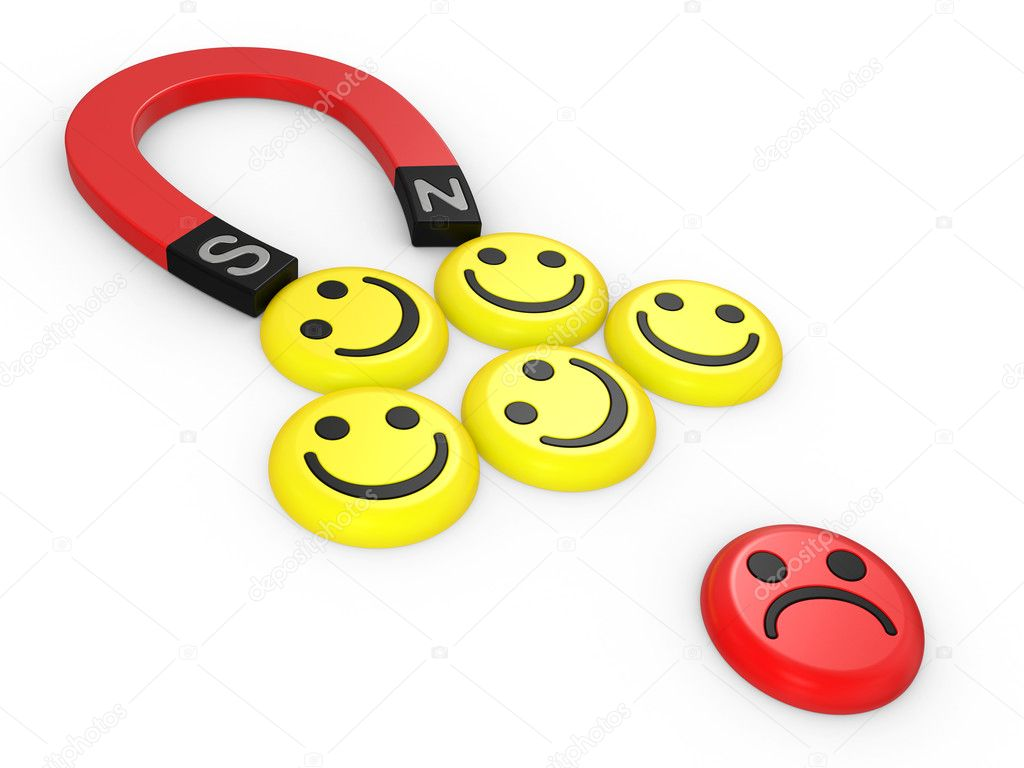 Smiling faces near to a magnet, the concept of teamwork — Stock Photo #4847212