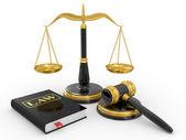 Gavel juridique, balances et livres de droit — Photo
