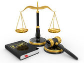 Legal gavel, scales and law book — Стоковое фото