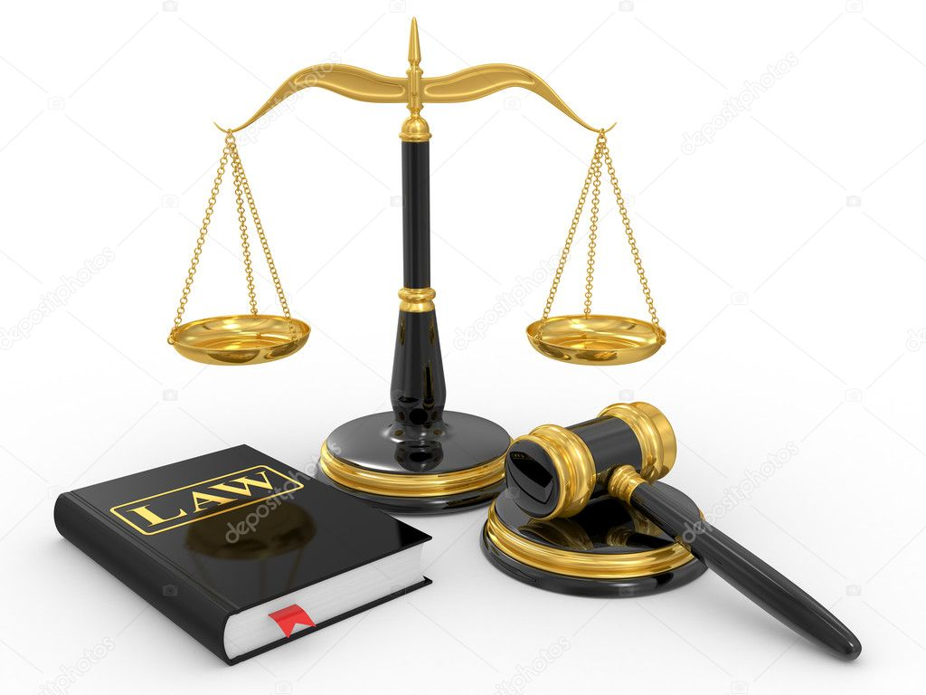 Legal gavel, scales and law book on a white background  Stock Photo #4901356