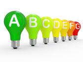 Energie-efficiëntie concept met gloeilampen — Stockfoto