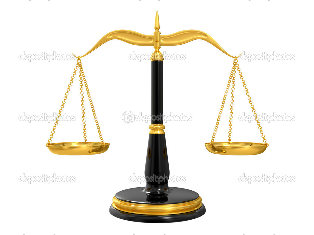 Classic scales of justice, isolated on white background  Stock Photo #4929139