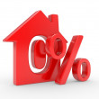 House and percent symbol - Stock Photo