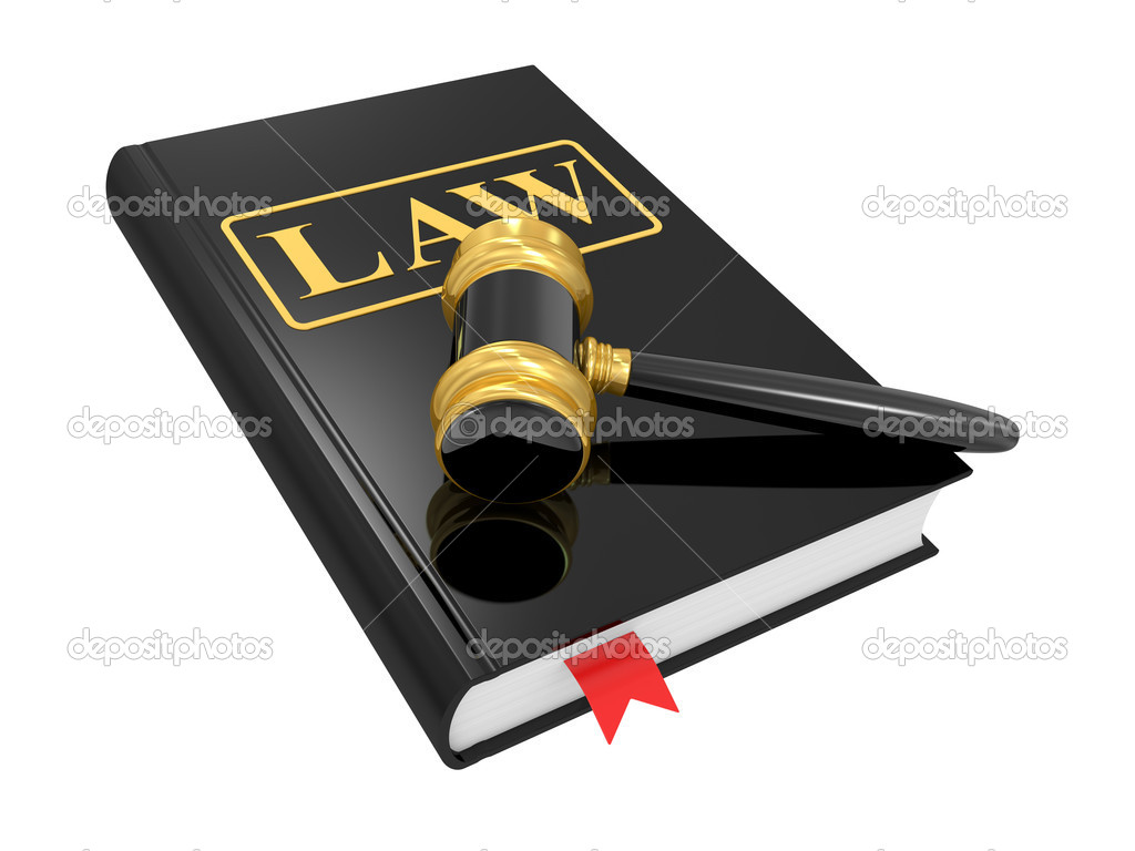 Legal gavel and law book on a white background — Stock Photo #4956730
