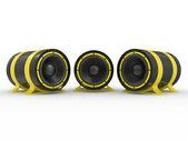 3d illustration of yellow audio speaker — Stock Photo