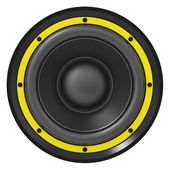 3d illustration of yellow audio speaker — Stock Photo