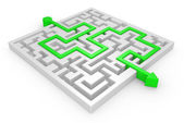 3D Maze with green arrow — Stock Photo