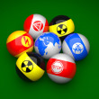 Billiard balls with danger signs — Stock Photo #5347262