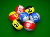 Billiard balls with danger signs — Stock Photo