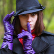 Foto de Stock  : Girl in glove and hat