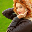 Stockfoto: Girl in brown leather jacket