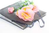 Album with rose isolated on white — Stock Photo