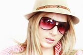 Blonde in hat and spectacles — Stock Photo