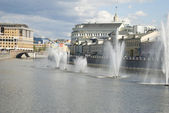 Fountain on the river in Moscow — Stok fotoğraf
