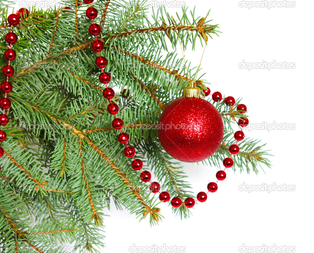 Red balls of christmas on a over white background — Stock Photo #4425021