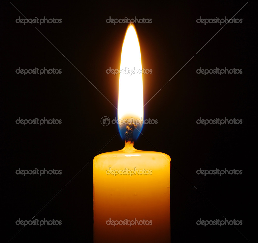 burning candle isolated on black background — Stock Photo #4526332