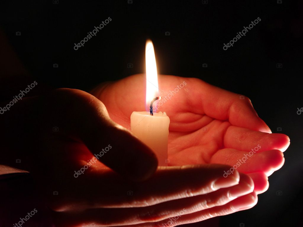 burning candle isolated on black background — Stock Photo #4526340
