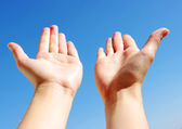 Hand on a sky — Stock Photo