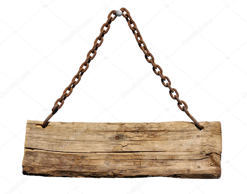 Wood sign, hanging from a chain — Stock Photo #4972328