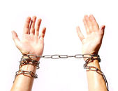 Hands chained — Stock Photo