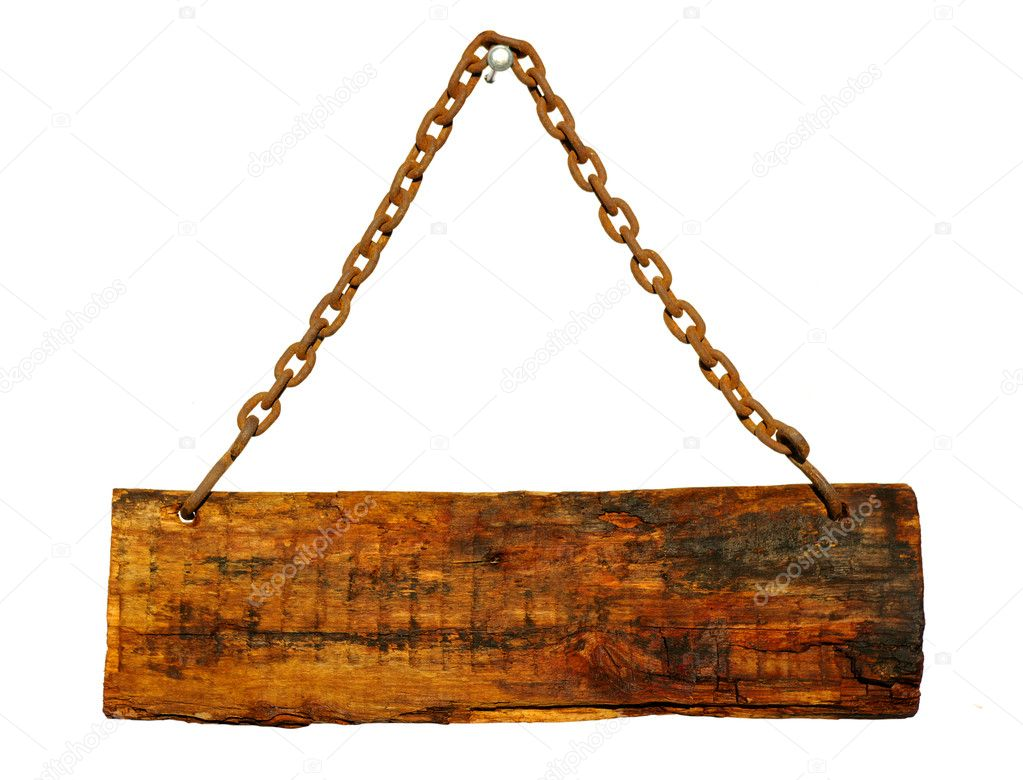 Wood sign, hanging from a chain — Stock Photo #5320867