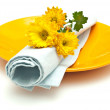Table setting with flowers — Stock Photo