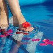 Leg in pool — Stock Photo