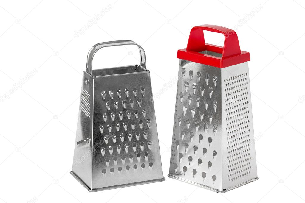 Two metal grater with a handle, isolated on a white background. — Stock Photo #4374336