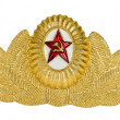 Insignia on soviet officer cap — Stock Photo