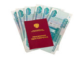 Russian Pension Certificate and money — Stock Photo