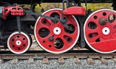 Old steam locomotive wheels — Foto Stock